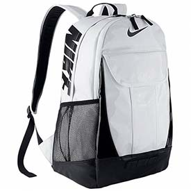 grey and white nike backpack