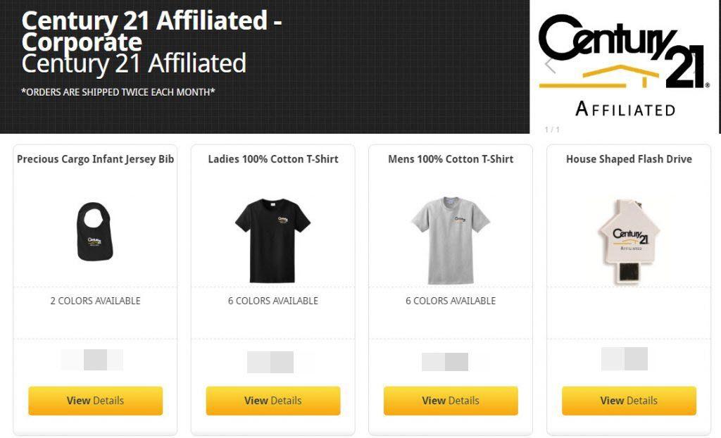 Century 21 corporate web store apparel